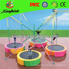 Colorful Mini Kids Fly Trampoline with 4 Stations