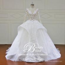 Venta al por mayor más nuevo diseño de moda de lujo y sophistcated vestido de novia sexy ver a través de corpiño vestido de novia vestido de novia 2017