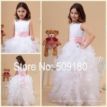 White Sleeveless Floor Length A-Line Custom Made Vestidos Girl Dress For Wedding Party FG017 Flower Girl Dresses For Weddings