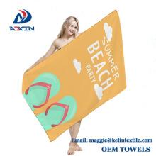 Con logotipo impreso 80x130cm Toalla de playa ultra absorbente de gamuza para deportes de gamuza