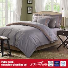 Хлопок 250TC Сатиновое постельное Коллекция отель вышивкой постельное белье качественное постельное белье