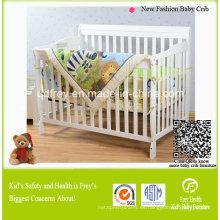 Cama de bebé de madera de pino sólido blanco para cuna de bebé