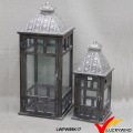 Square Glass Panels Plated Silver Top Wooden Candle Holder Set