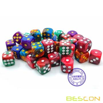 Jeu de 36 pièces Bescon D6 12mm, matrice à six faces de 12 mm (36), bloc de dés, couleurs de jungle assorties