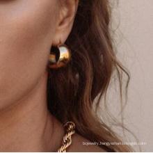 Custom Fashion18k Gold Plated Hoop Earrings For Women Minnimal Stainless Steel Jewelry Earrings