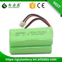 Bateria recarregável quente do telefone sem corda da venda NIMH AAA 2.4v 800mah de Geilienergy