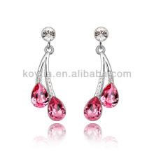 Boucles d'oreilles de lustre rose rhinestone préférées pour la soirée