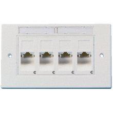 Ftth ethernet 3m amplificador rj45 4 portas placa frontal, 4 portas conector rj45 faceplate plástico