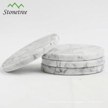 Runde Marmoruntersetzer-Sets
