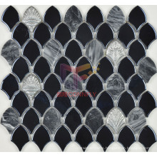 Black Glazed Ceramic Mix Grey Marble Mosaic (BK002)