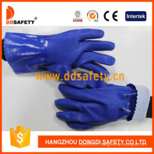 Blue Guantlet Cuff PVC Smooth Finished and Cotton Liner Safety Gloves