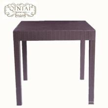 Venta al por mayor de muebles de China Alibaba cuadrados de plástico de ratán comedor café merienda mesa de jardín al aire libre