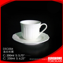 new product from guangzhou hotel use crockery super white porcelain tea cups with saucer
