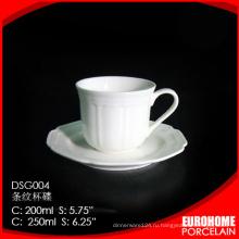 новый продукт от Гуанчжоу отель использования посуда супер белый фарфоровой чашки чая, с блюдцем
