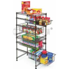 Powder Coating DIY Metal Home Storage Shelf with Basket (LD452090C5E)