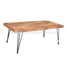 Mesa de comedor de madera industrial y patas de hierro