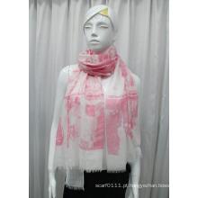 Senhora paisagem impresso algodão poliéster voile moda lenço (yky1082)