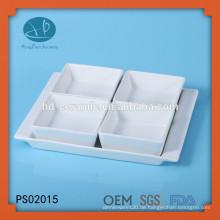 Weißes Porzellan quadratisches Teller Set mit Sockel, Porzellan 4 Stück Servier Set, quadratische Keramikschale