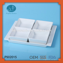 Ensemble carré carré en porcelaine blanche avec base, porcelaine Ensemble de service 4 pièces, bol en céramique carrée