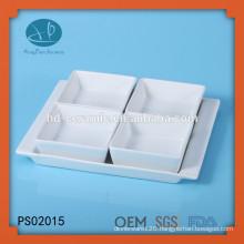 white porcelain square dish set with base,porcelain 4 piece serving set,square ceramic bowl