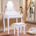 White Vanity Jewelry Wooden Makeup Dressing Table Set bathroom W/Stool Mirror & 4 Drawer