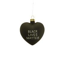 Custom Logo Hand Blow 3D Black Glass Heart Shape Ornament For Black Lives Matter