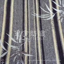 Ткань синели для дивана с узором в виде полос и листьев