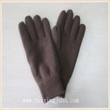 Cor lisa de homem de malha luvas de inverno