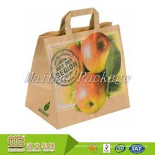 Les sacs plats adaptés aux besoins du client par recyclage écologique réutilisent des sacs de papier d'emballage de transport pour le supermarché