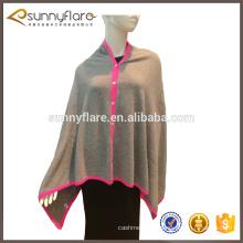 châle poncho tricoté pur cachemire avec boutons