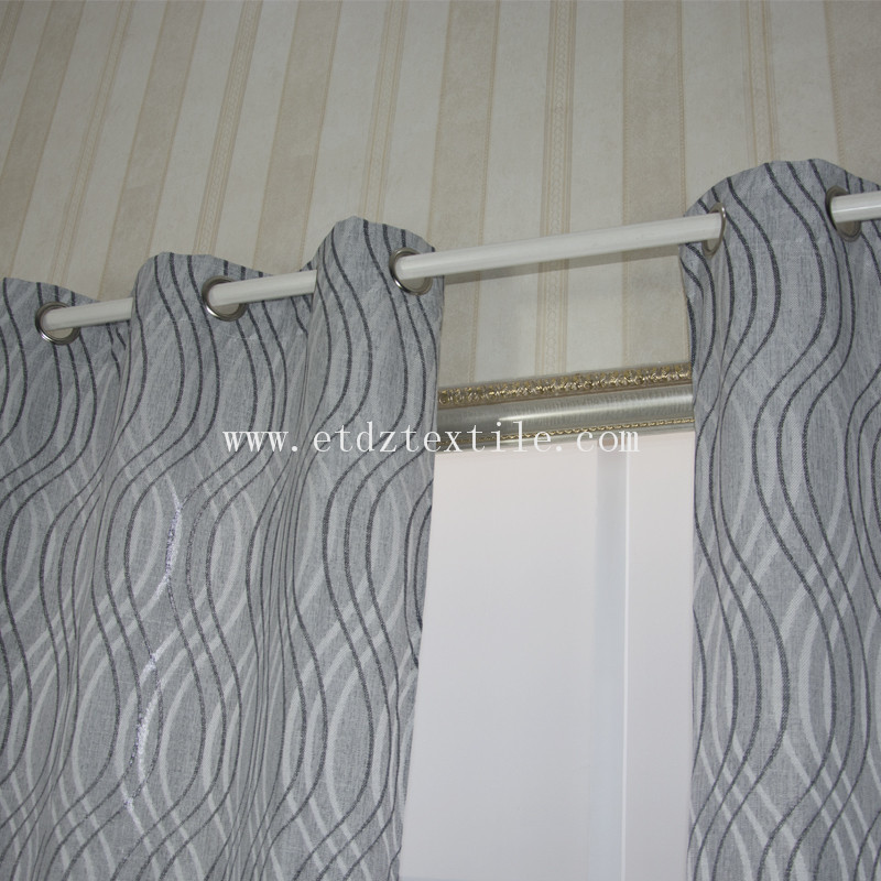 6014 Grey Color Linen Touching 100% Polyester Slub Piece Dyed Window Curtain Fabric