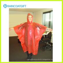 Women′s Orange PE Disposable Rain Poncho Rpe-161