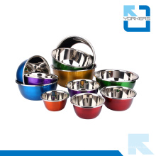 Regalos coloridos de acero inoxidable de mezcla Bowl ensalada tazón de fuente de sopa