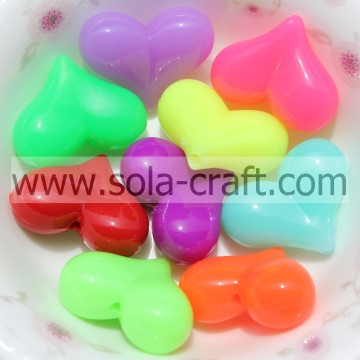 10*12*13MM Sparking Opaque Plastic Crystal Heart Charm Beads Pattern
