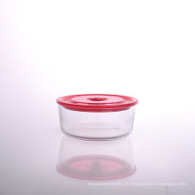 Bol rond en verre borosilicate avec couvercle