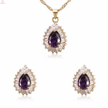 China Wholesale Light Purple Women Cz Crystal Earring Jewelry Sets In Stainless Steel