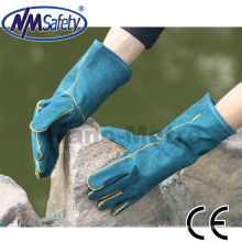 NMSAFETY leather working gloves/cow split leather welding gloves/cow split leather safety gloves