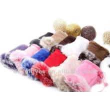cute half finger sheepskin gloves