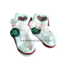 Encaje de corte niña calcetines con Shinning del Rhinestone buena calidad