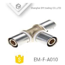 EM-F-A010 Tuyau en T réducteur en laiton avec raccord de compression