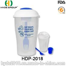 Salada para ir recipiente com recipiente de molho e garfo (HDP-2018)