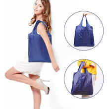 Eco Friendly Reusable Waterproof Polyester Heavy Duty Folding Shopping Bag Foldable Grocery Tote Bag With Custom Printed Logo