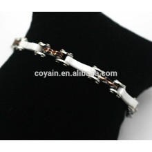316L stainless steel white ceramic coffee black plated chain link bracelet