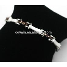 316L aço inoxidável branco café cerâmico preta chapeado bracelete de corrente