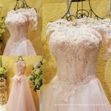 Real Picture Pink Elegant Off The Shoulder Long Evening Dress Lace Applique Beaded Bow Sash Sexy A-Line Robes De Soiree ML181
