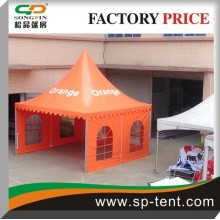 Promotion Leisure Venue square shaped temporary structure garden party pagoda tent 5x5m in orange color with logo printing