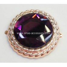 Purple Crystal Glass Stone Embellishment Metallic Plastic Footwear Accessories