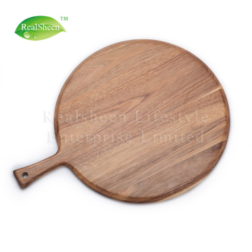Tablero de pizza de madera de acacia natural con mango