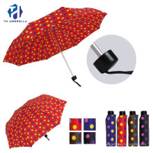 Polka-Dotted Fiberglass Windproof Folding Umbrella