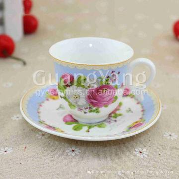 China Nueva Bone China Porcelana De Cerámica De Café Taza Y Platillo